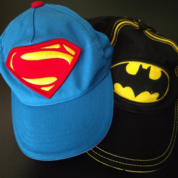 04e785652 2 Toddler Super Hero Superman Batman Baseball Caps